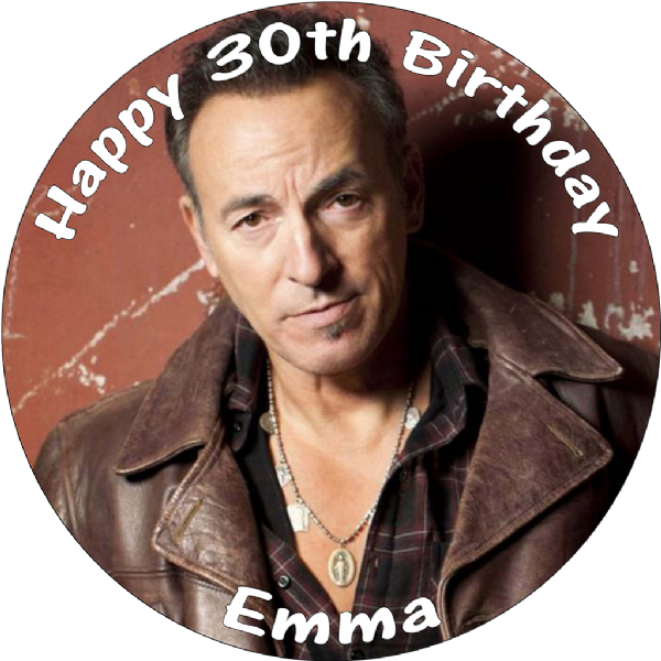 BRUCE SPRINGSTEEN ROUND BIRTHDAY CAKE TOPPER
